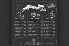 coffee menu on chalkboard by Netkoff on @creativemarket