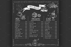 coffee menu on chalkboard by Netkoff on Creative Market