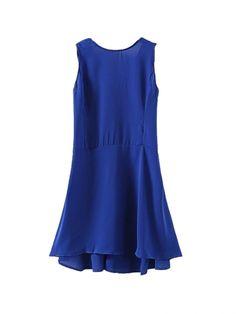 Fresh Solid Color Open Hem V-Back Sleeveless Dress