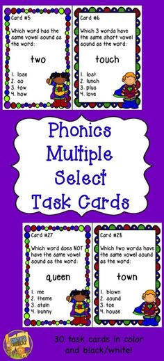 Phonics Task Cards - using multiple select answers!  SO MUCH FUN!  30 cards to practice in centers, small groups, or with the whole class!