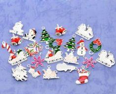 Housweety 50 Mixed Silver Plated Enamel Christmas Charms Pendants