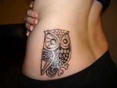 Hip Owl Tattoo Designs For Girls, lower back tattoos for girls ...