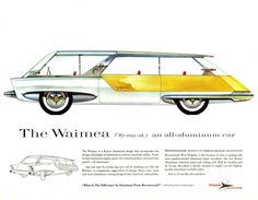 """Kaiser Aluminium """"Idea Cars"""" (1958)  """"In the late 1950s, Kaiser Aluminum was looking to expand its market by encouraging the use of more aluminum in products that were traditionally built out of other materials, such as steel.  As part of its effort to persuade the domestic auto industry to build cars using aluminum--or, at least, more aluminum than it was using at the time--Kaiser engaged designer Frank Hershey to produce a portfolio of aluminum car designs which would illustrate some…"""