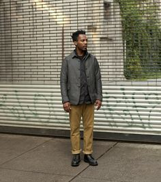 Jacket Workers  Jacket Arc'teryx Veilance  Sweater Margaret Howell  T-shirt The Real McCoy's  Pants Engineered Garments Workaday  Boots Red Wing