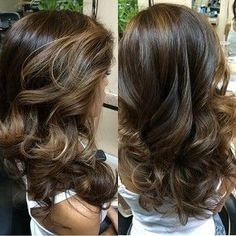 dark brown color with subtle light brown highlights Love this can't wait to go get my hair done this weekend by gonzodebbie