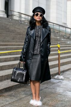 Pin for Later: Flashback Friday: NYFW Street Style Stars Trekked Through the Snow For Fashion NYFW Street Style Day 3 Tough girl up top, flirty heels on bottom.