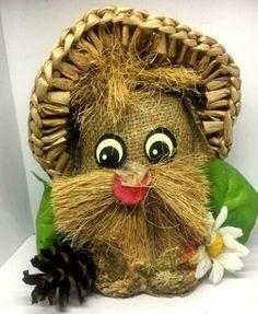 "Vintage Doll Gift Handmade Burlap Twine Straw Hat Decor Pine 7"" Handicraft Arts | eBay"