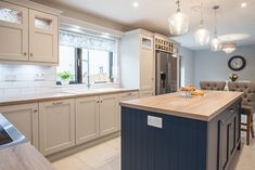 View of island and sink in grey and inky blue contemporary painted kitchen by Newhaven Kitchens. Kitchen Projects, Contemporary Kitchen, Kitchens And Bedrooms, Kitchen Design, Modern Kitchen, Chic Kitchen, Kitchen Planner, Farmhouse Style Kitchen, Grey Blue Kitchen