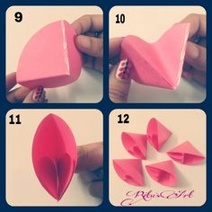 Discover more about Origami Paper Folding Easy Paper Flowers, Paper Flower Tutorial, Origami Flowers, Origami Tutorial, Diy Flowers, Fabric Flowers, Origami Star Box, Origami Fish, Origami Paper