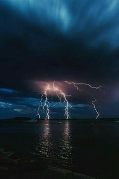 Lightning photo in the night sky. Beautiful night sky on lake. Thunder And Lightning, Lightning Storms, Lightning Cloud, Lightning Strikes, Natural Phenomena, Nature Wallpaper, Storm Wallpaper, Amazing Nature, Belle Photo