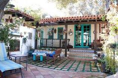 Spanish-Moorish Colonial in Altadena This color-saturated Spanish colonial in Altadena was built in 1926 by The American Architect publisher Maurice Swetland. Known as Casa Andalusia, the home features five bedrooms,. Spanish Style Homes, Spanish Revival, Spanish House, Spanish Colonial, Spanish Backyard, Spanish Tile Roof, Spanish Courtyard, Courtyard Ideas, Style Hacienda