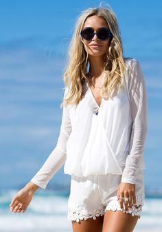 Mesh Shell V Neck Shirt - White - Long Sleeves Top