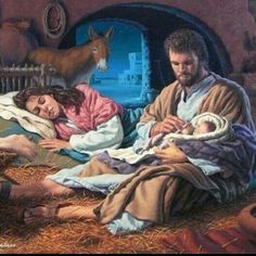 In the Hands of The Father by Roger Loveless ~ Jesus nativity ~ Holy Family Religious Pictures, Jesus Pictures, Church Pictures, Christmas Nativity, A Christmas Story, Christmas Prayer, Catholic Art, Religious Art, Holiday Messages