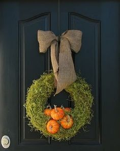 Fall Wreath Like this one, but move pumpkins to right and left and use WHITE or Cream instead of orange.