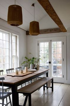 Jersey Ice Cream Co, Old Chatham, dining room-Eat-in kitchen, plaster, white interiors, reclaimed wood, exposed beams, vintage accessories