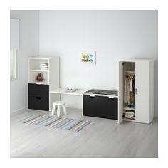 STUVA Comb almacenaje con banco, blanco, negro - 300x50x128 cm - IKEA