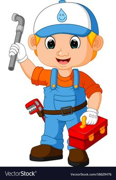 Cartoon cute plumber boy vector image on VectorStock