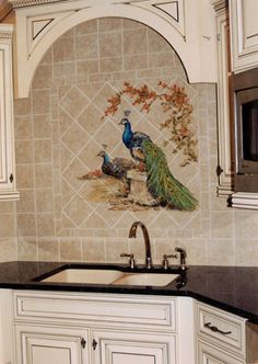 Kitchen mural -- peacock and peahen.  Lisa Haggerty Palmer - Symphony Showcases and Parade of Homes