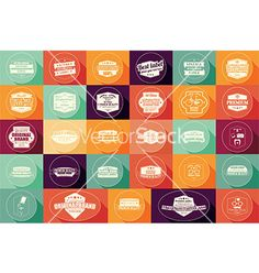 Collection of vintage retro labels badges stamps vector by bluelela on VectorStock®