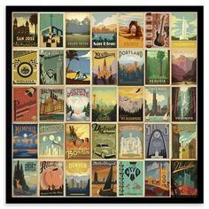 Framed Vintage USA - All States, Art Print, 40x40cm, Framed