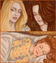 Rosalie and Bella look at Renesmee sleeping.