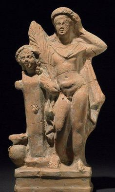 terracotta Hermes figure - youth appears to be shown as a victorious athlete, from Myrina, about I century BC, now at the British Museum