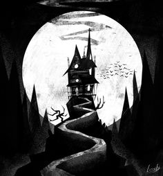 Spookhaus by Lizziefij on DeviantArt Casa Halloween, Theme Halloween, Halloween Painting, Halloween Crafts, Halloween Witches, Happy Halloween, Halloween Decorations, Haunted House Props, Halloween Haunted Houses