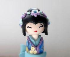 Miniature Doll Japanese Doll  Shabby chic Light Blue by efiwarsh.etsy.com