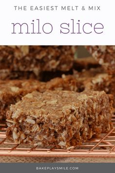 The very best ever MILO SLICE!!! Simply melt and mix the ingredients together for a quick and easy slice (and one the kids will love!!).     #milo #oat #malted #milk #slice #bars #kids #kidrecipes #recipe #thermomix #conventional #easy #bake #lunchbox #australia #australian #yum