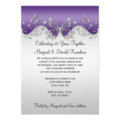 Purple Silver Butterflies 25th Anniversary Invites Butterfly Wedding Invitations