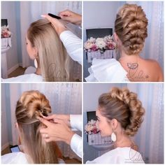Easy Hairstyles For Long Hair, Pretty Hairstyles, Braided Hairstyles, Dancer Hairstyles, Frozen Hairstyles, Easy Vintage Hairstyles, Female Hairstyles, Bun Hairstyles For Long Hair, Hair Up Styles