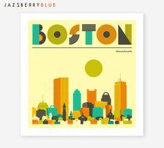 BOSTON SKYLINE Modern Retro Wall Art for the Home by JazzberryBlue