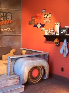 Little boys room..love the back-end of the old ford