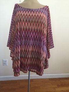 NWTJennifer Lopez 2X women Batwingsleeve sheer blouse Pink orange Zigzag Pattern…