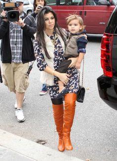 Kourtney Kardashian - Chanel Boots - Trending Chanel Boots for sales. Kardashian Photos, Kardashian Style, Mommy Style, Her Style, Kourtney Kardashion, Kim Khloe Kourtney, Stylish Outfits, Cute Outfits, Orange Boots
