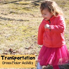 This gross-motor transportation game for preschoolers is an excellent way to get the kids moving! My daughter wanted to play for hours!