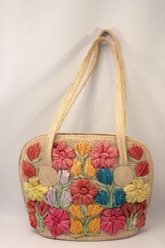 Vintage Childs Straw Tropical Purse Beach Souvenir on Etsy, $12.00