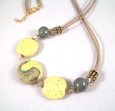 Yellow and Green Kazuri Bead Necklace