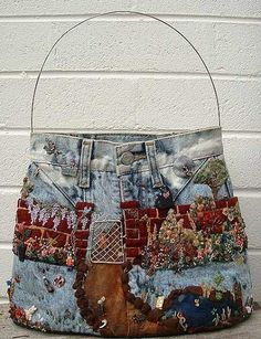 recycled denim and embroider, etc. bolsa