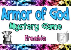 Armor of God mystery game plays like Clue as players figure out where the missing piece of the Armor of God is. Bible Object Lessons, Bible Lessons For Kids, Bible Games For Youth, Church Games, Kids Church, Church Ideas, Activities For Teens, Bible Activities, Teen Sunday School Lessons