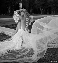 idan cohen bridal 2017 flutter sleeve split sweetheart sheath wedding dress (37) bv split skirt bow illusion back long train