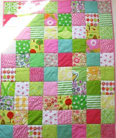 pink and lime baby quilt by syko Kajsa, via Flickr