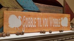 """RECYCLED WOOD PALLETS: I know there are a lot of people out there who """"represent"""" this sign. Thanksgiving is a Holiday celebrated around food and football! I liked both of these designs and so I made them into hand painted signs. They are 20"""" x 6"""" and sell for $12 each.  Message us if you would like one of your own. Item # 380"""