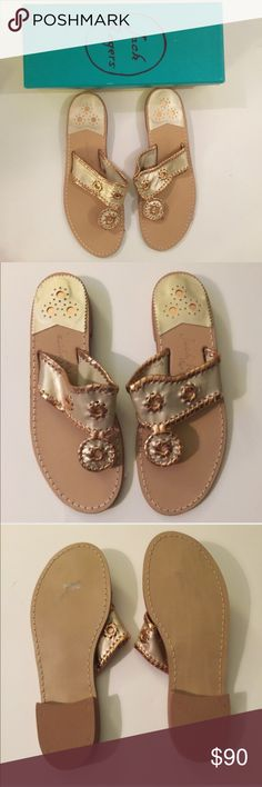 NWT JACK ROGERS GOLD AND COPPER SANDALS - 10. NWT JACK ROGERS GOLD AND COPPER SANDALS - 10. fun look for summer!These are is handmade and each one has the size handwritten in the upper. Half sizes are noted with the numerical size plus a dash. Brand new.   1-in. L Slip-on Leather Imported Jack Rogers Shoes
