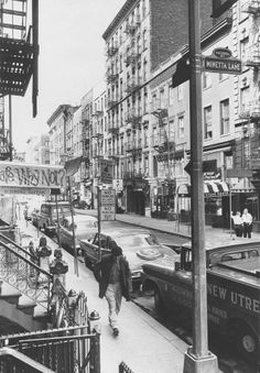 MacDougal Street, between Bleecker and West Third, in New York's Greenwich Village in 1963.