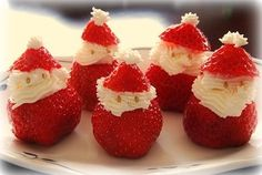 strawberry santas. These were a big hit at christmas!  Very easy to make using coconut milk whipped cream.  I substituted Enjoy Life mini chocolate chips for the eyes:)