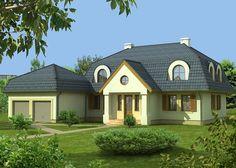 Dom nakryty jest dachem mansardowym, dzięki któremu na poddaszu nie występują skosy.
