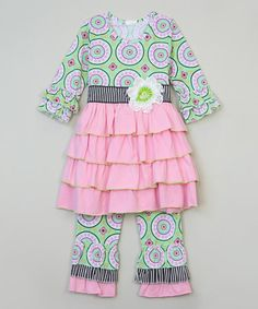 Look at this #zulilyfind! Green & Blue A-Line Tunic & Pants - Infant, Toddler & Girls #zulilyfinds