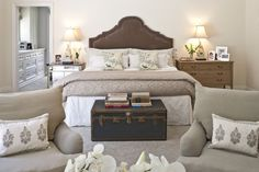 Beautiful Neutral Bedroom Ideas for Couples: Warm Neutral Bedroom Ideas Incorporating Bed With Headboard Crate Inspired Table And Foamy Chai...