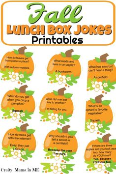 Fall Lunch Box Jokes for Kids - Crafty Mama in ME! - Fall Lunch Box Jokes for Kids The Effective Pictures We Offer You About entertaintment gedung A qu - Sac Halloween, Halloween Jokes, Funny Jokes For Kids, Jokes Kids, Cool Jokes, Kids Humor, Funny Puns, Lunch Notes, Lunchbox Notes For Kids